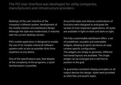 PSI User Interface for Utilities and Industry