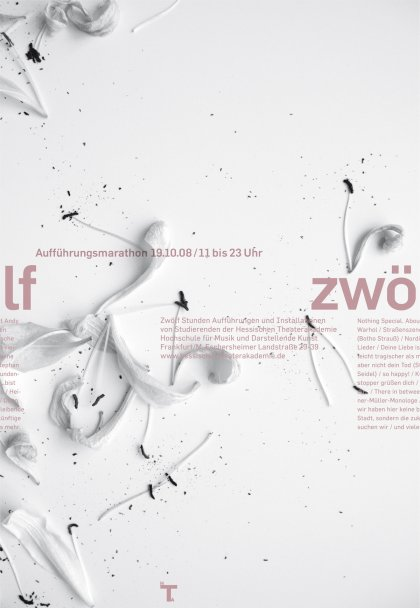 "Poster ""Twelve"" performance marathon of the Hessian Theatre Academy and the University of Music and Performing Arts Frankfurt. Design by Klaus Hesse ©2008"